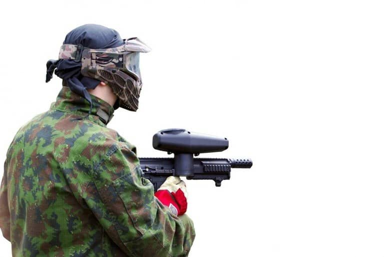 paintball player in camouflage